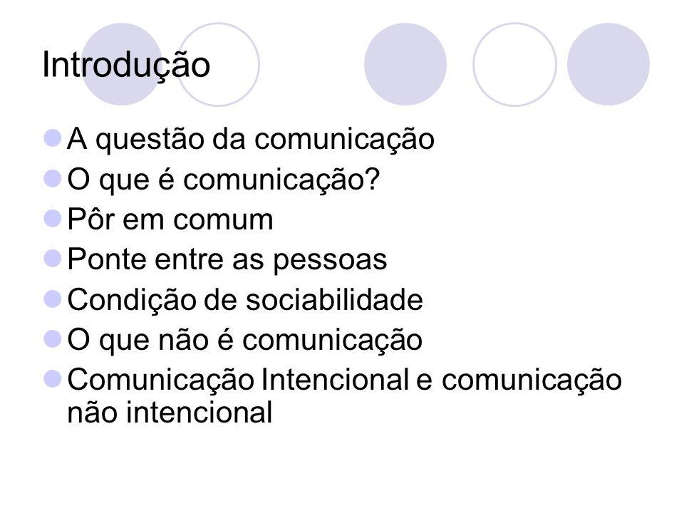 Introdução A questão da comunicação O que é comunicação Pôr em comum
