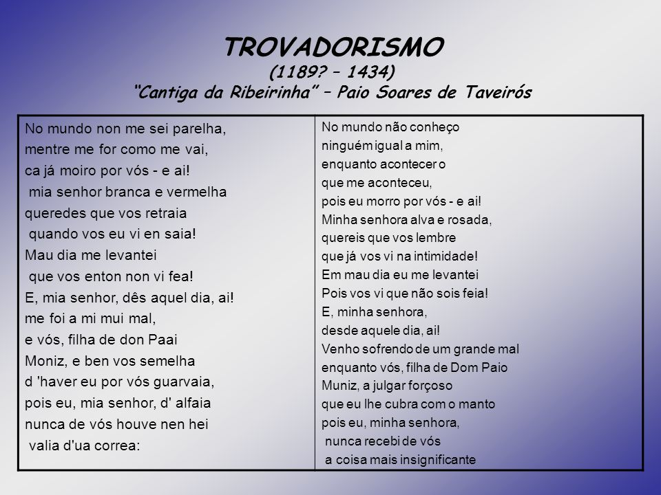 TROVADORISMO (1189 – 1434) Cantiga da Ribeirinha – Paio Soares de Taveirós