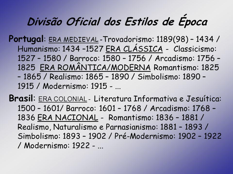 Divisão Oficial dos Estilos de Época