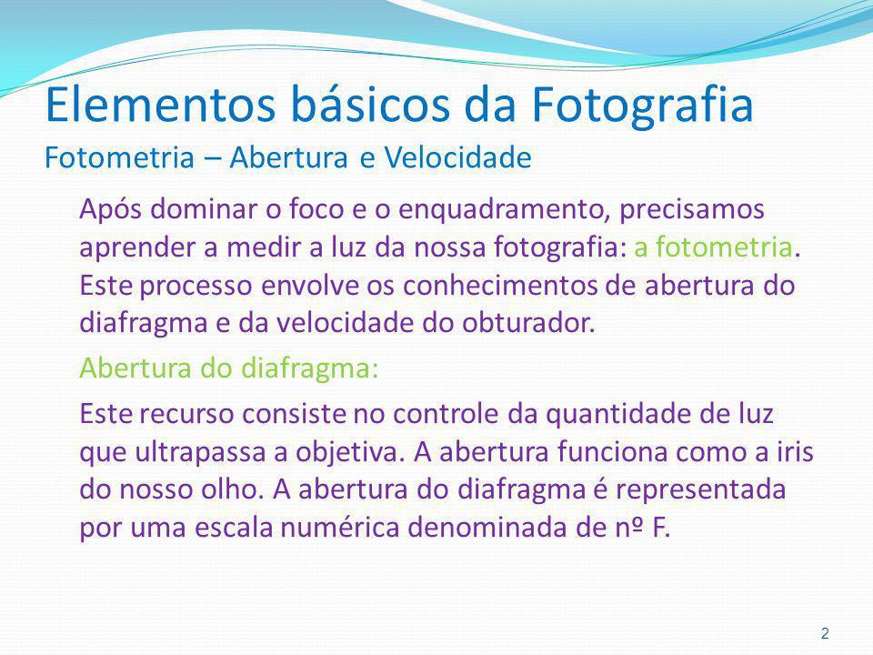 Elementos básicos da Fotografia Fotometria – Abertura e Velocidade