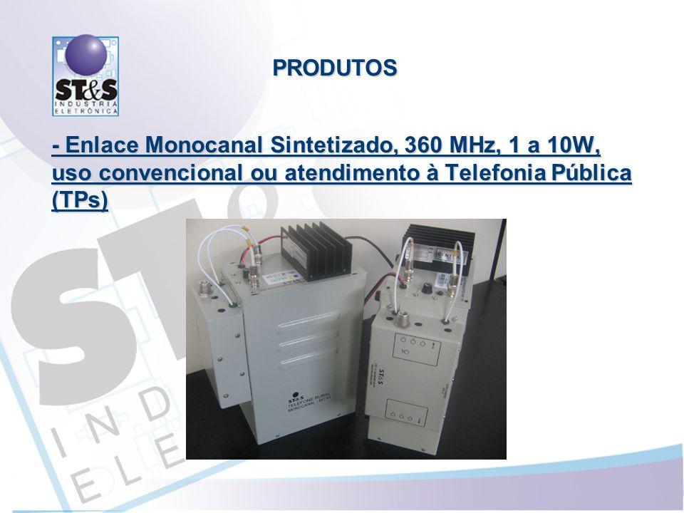 PRODUTOS - Enlace Monocanal Sintetizado, 360 MHz, 1 a 10W, uso convencional ou atendimento à Telefonia Pública (TPs)