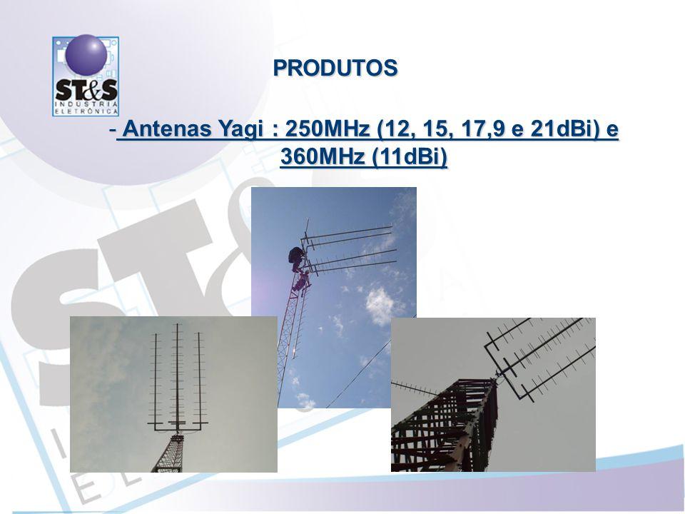 Antenas Yagi : 250MHz (12, 15, 17,9 e 21dBi) e 360MHz (11dBi)