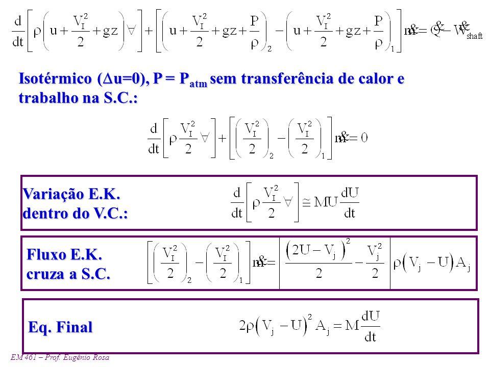 Isotérmico (u=0), P = Patm sem transferência de calor e trabalho na S