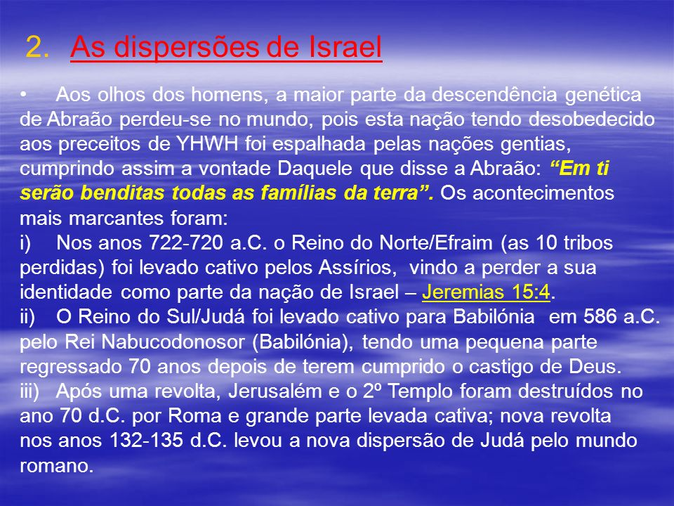 As dispersões de Israel