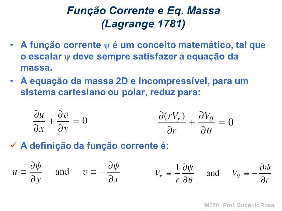Função Corrente e Eq. Massa (Lagrange 1781)