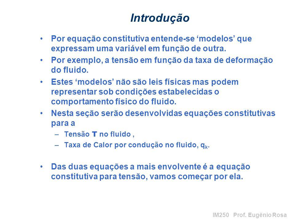 Introdução Por equação constitutiva entende-se 'modelos' que expressam uma variável em função de outra.