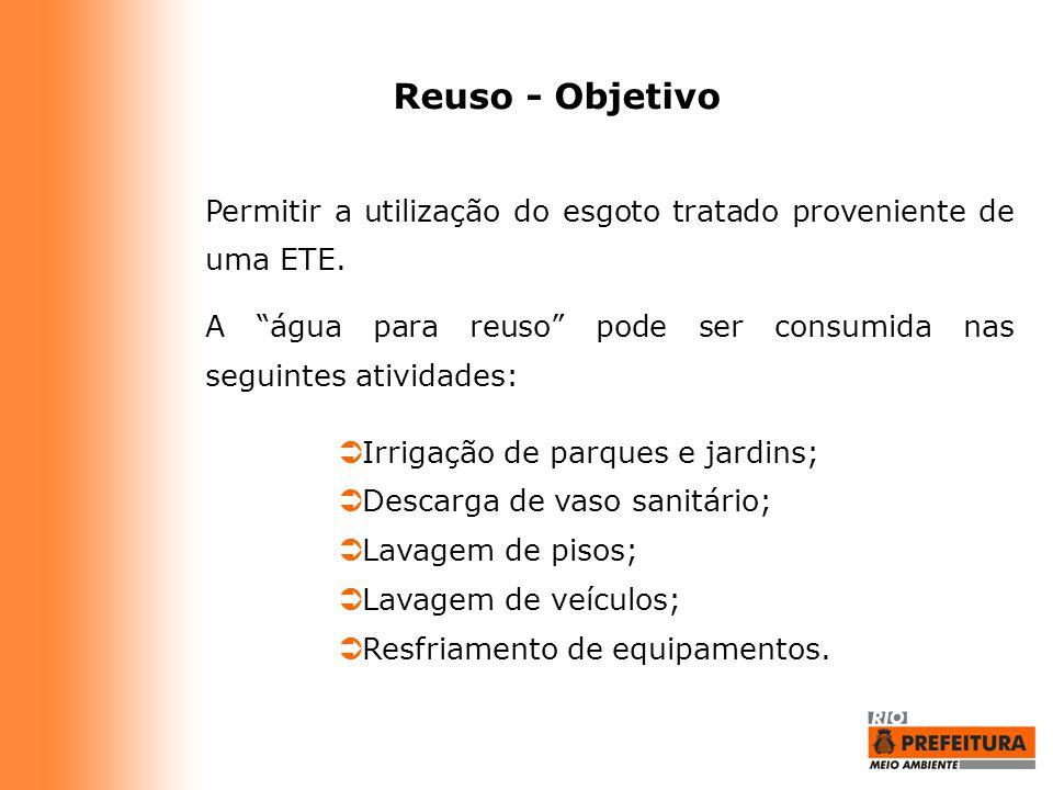 Reuso - Objetivo Permitir a utilização do esgoto tratado proveniente de uma ETE. A água para reuso pode ser consumida nas seguintes atividades: