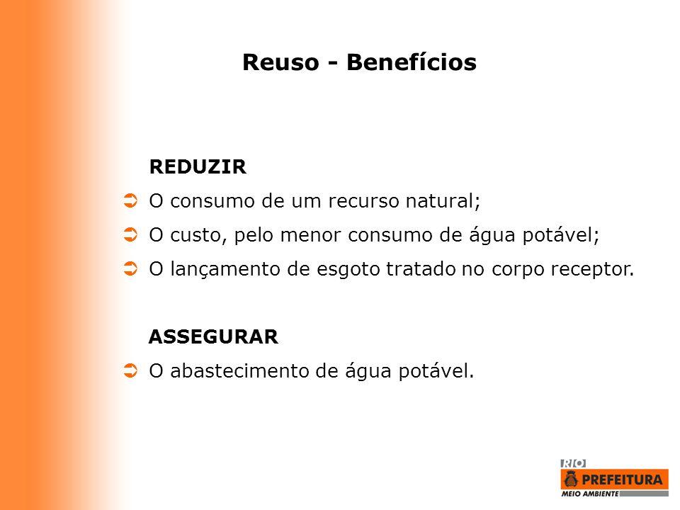 Reuso - Benefícios REDUZIR O consumo de um recurso natural;
