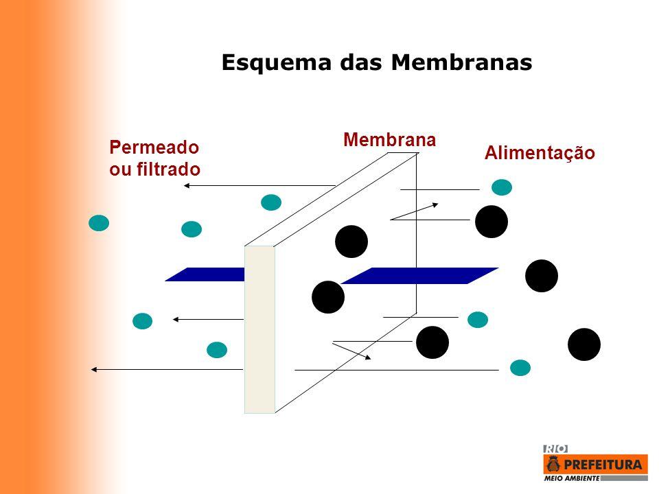 Esquema das Membranas Permeado ou filtrado Alimentação Membrana