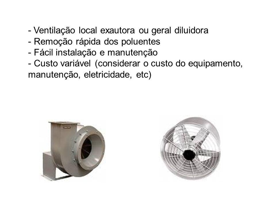 - Ventilação local exautora ou geral diluidora