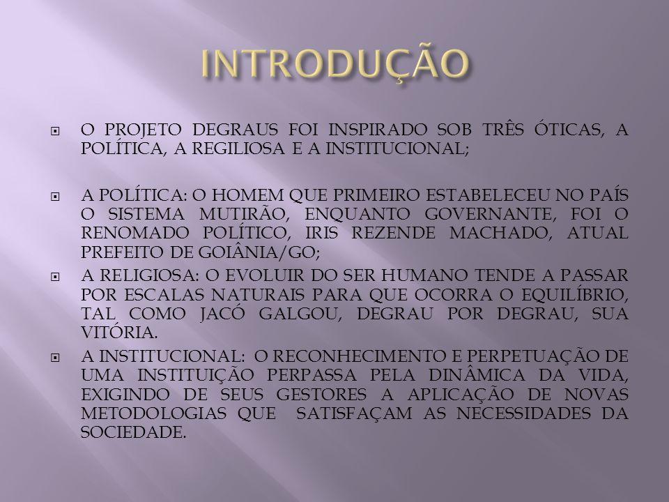 INTRODUÇÃO O PROJETO DEGRAUS FOI INSPIRADO SOB TRÊS ÓTICAS, A POLÍTICA, A REGILIOSA E A INSTITUCIONAL;