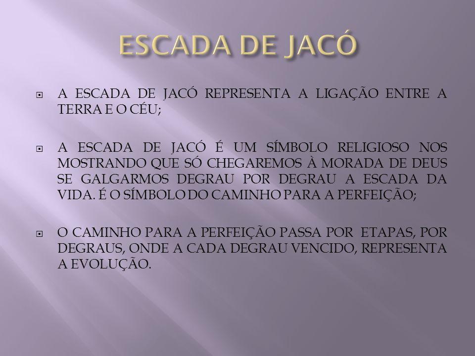 ESCADA DE JACÓ A ESCADA DE JACÓ REPRESENTA A LIGAÇÃO ENTRE A TERRA E O CÉU;