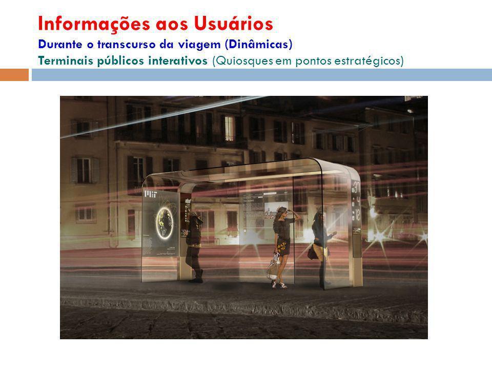 Informações aos Usuários Durante o transcurso da viagem (Dinâmicas) Terminais públicos interativos (Quiosques em pontos estratégicos)