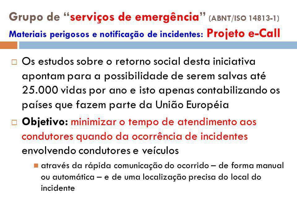 Grupo de serviços de emergência (ABNT/ISO 14813-1) Materiais perigosos e notificação de incidentes: Projeto e-Call