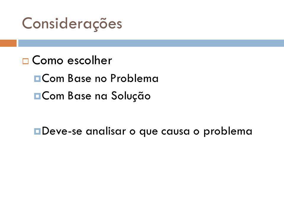 Considerações Como escolher Com Base no Problema Com Base na Solução