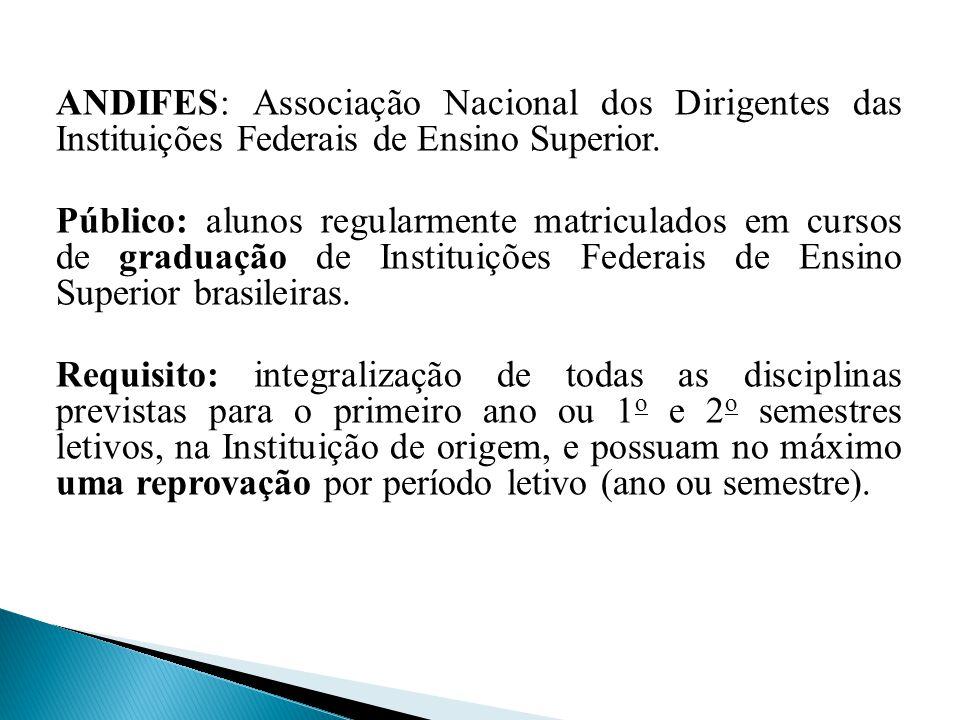 ANDIFES: Associação Nacional dos Dirigentes das Instituições Federais de Ensino Superior.