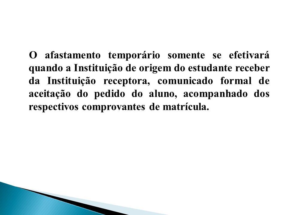 O afastamento temporário somente se efetivará quando a Instituição de origem do estudante receber da Instituição receptora, comunicado formal de aceitação do pedido do aluno, acompanhado dos respectivos comprovantes de matrícula.