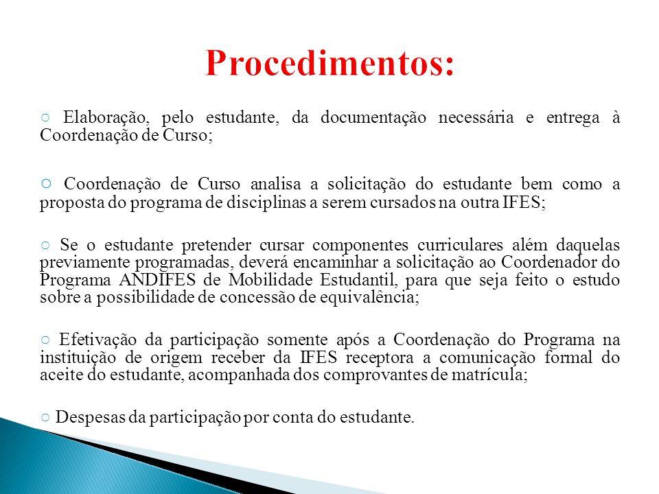 Procedimentos: ○ Elaboração, pelo estudante, da documentação necessária e entrega à Coordenação de Curso;