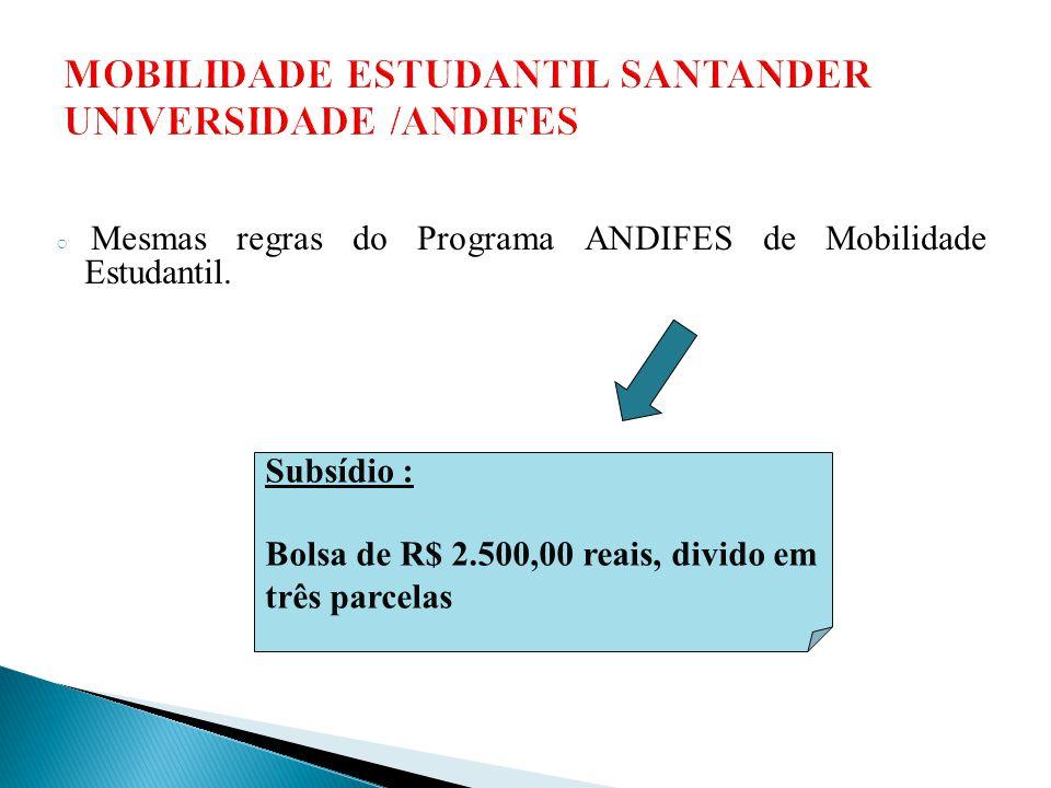 MOBILIDADE ESTUDANTIL SANTANDER UNIVERSIDADE /ANDIFES