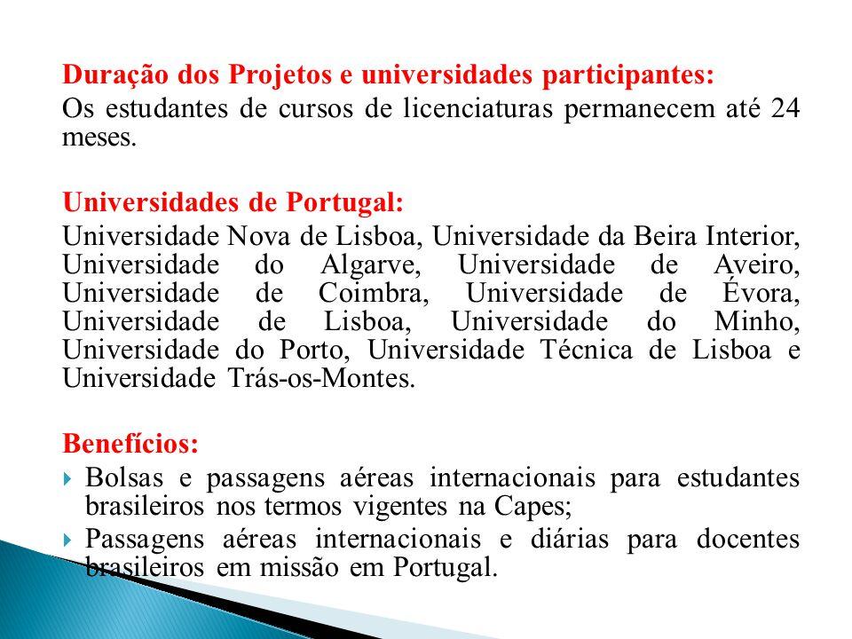 Duração dos Projetos e universidades participantes: