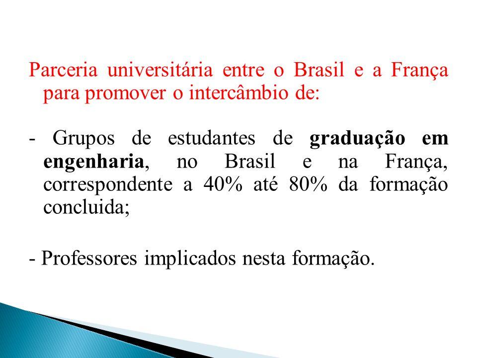 Parceria universitária entre o Brasil e a França para promover o intercâmbio de: - Grupos de estudantes de graduação em engenharia, no Brasil e na França, correspondente a 40% até 80% da formação concluida; - Professores implicados nesta formação.
