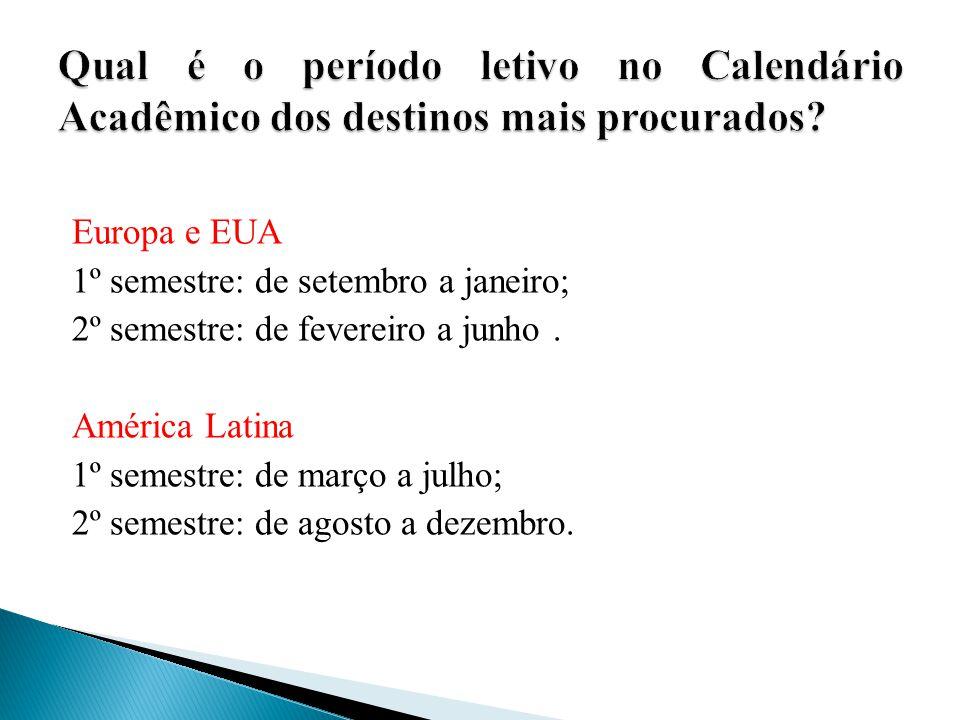 Qual é o período letivo no Calendário Acadêmico dos destinos mais procurados