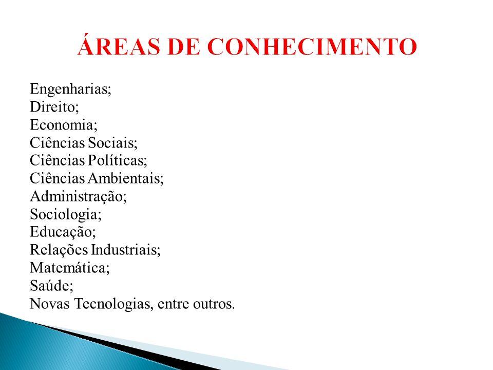 ÁREAS DE CONHECIMENTO Engenharias; Direito; Economia;