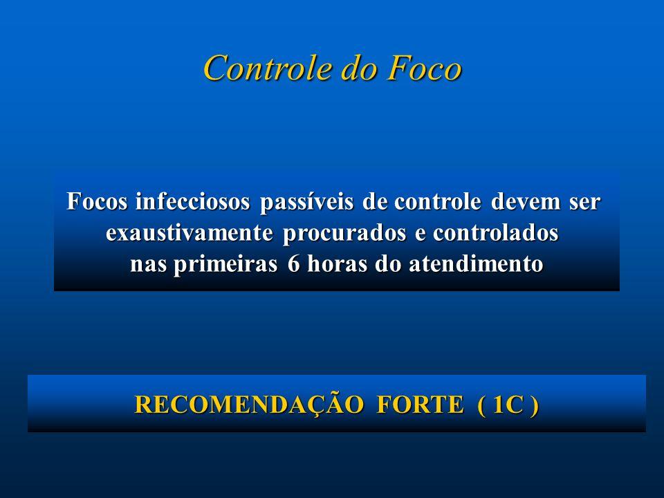 Controle do Foco Focos infecciosos passíveis de controle devem ser
