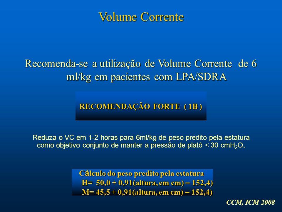 RECOMENDAÇÃO FORTE ( 1B ) Cálculo do peso predito pela estatura