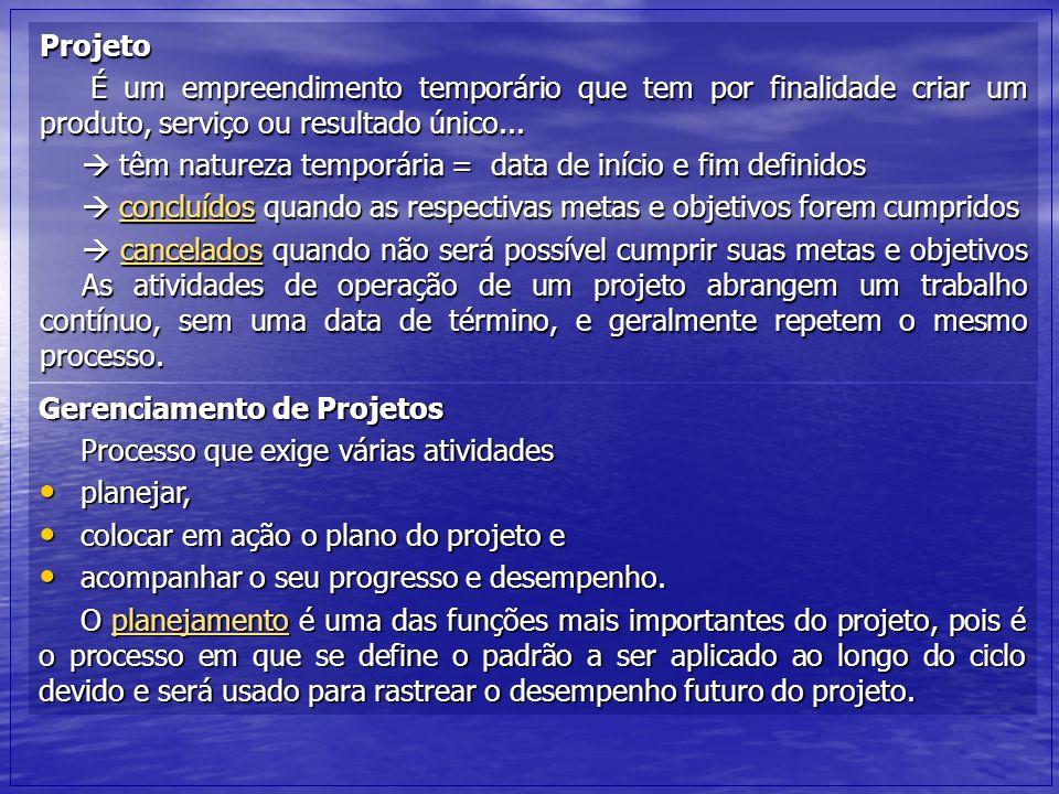 Projeto É um empreendimento temporário que tem por finalidade criar um produto, serviço ou resultado único...