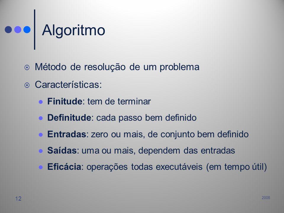 Algoritmo Método de resolução de um problema Características: