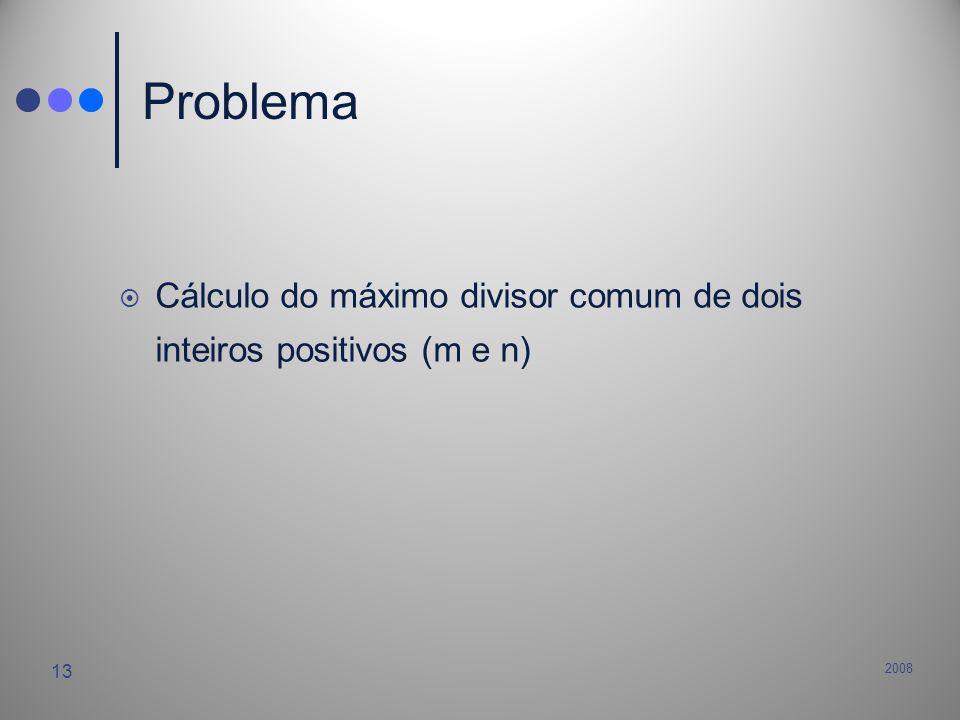 Problema Cálculo do máximo divisor comum de dois inteiros positivos (m e n) 2008
