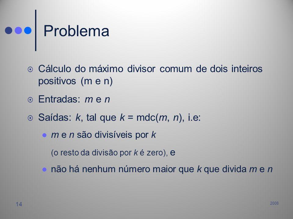 Problema Cálculo do máximo divisor comum de dois inteiros positivos (m e n) Entradas: m e n. Saídas: k, tal que k = mdc(m, n), i.e: