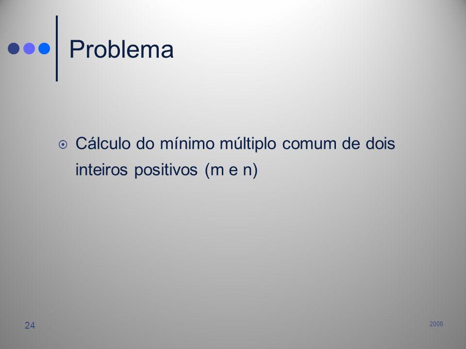 Problema Cálculo do mínimo múltiplo comum de dois inteiros positivos (m e n) 2008