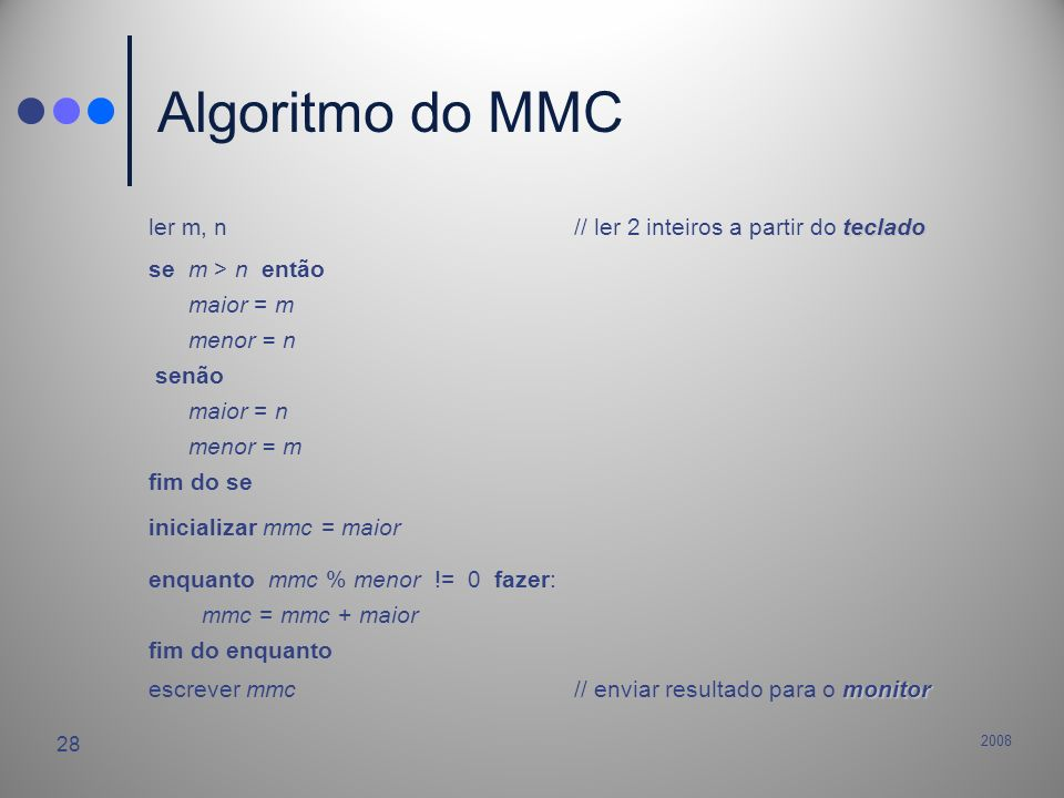 Algoritmo do MMC ler m, n // ler 2 inteiros a partir do teclado
