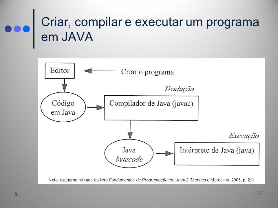 Criar, compilar e executar um programa em JAVA