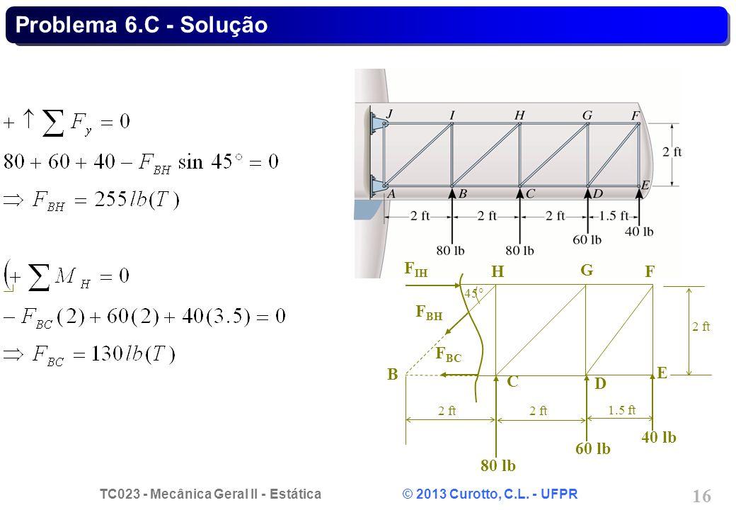 Problema 6.C - Solução B C D E F G H 80 lb 40 lb 60 lb FIH FBH FBC 45