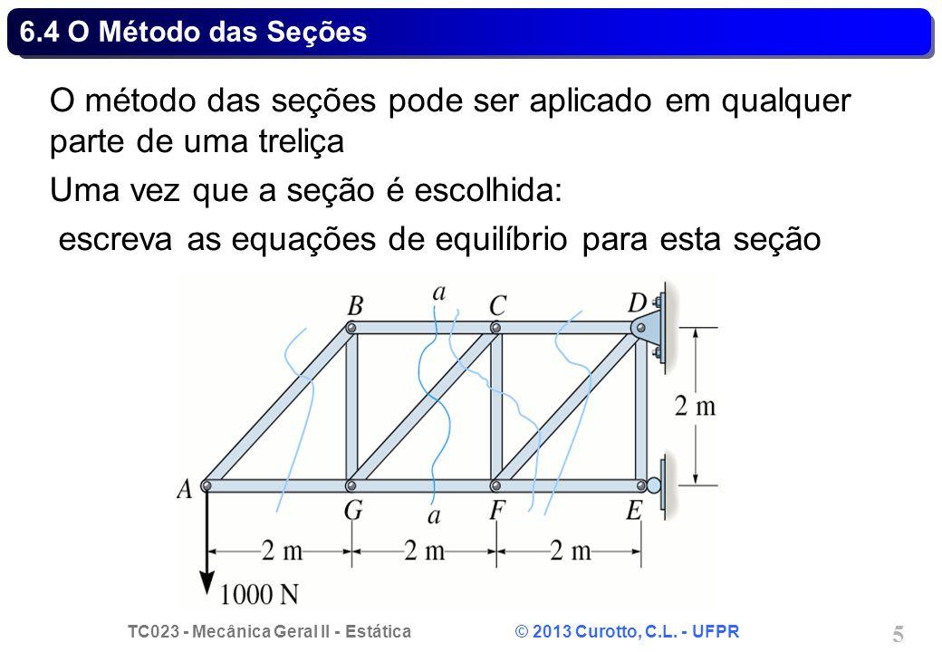 O método das seções pode ser aplicado em qualquer parte de uma treliça