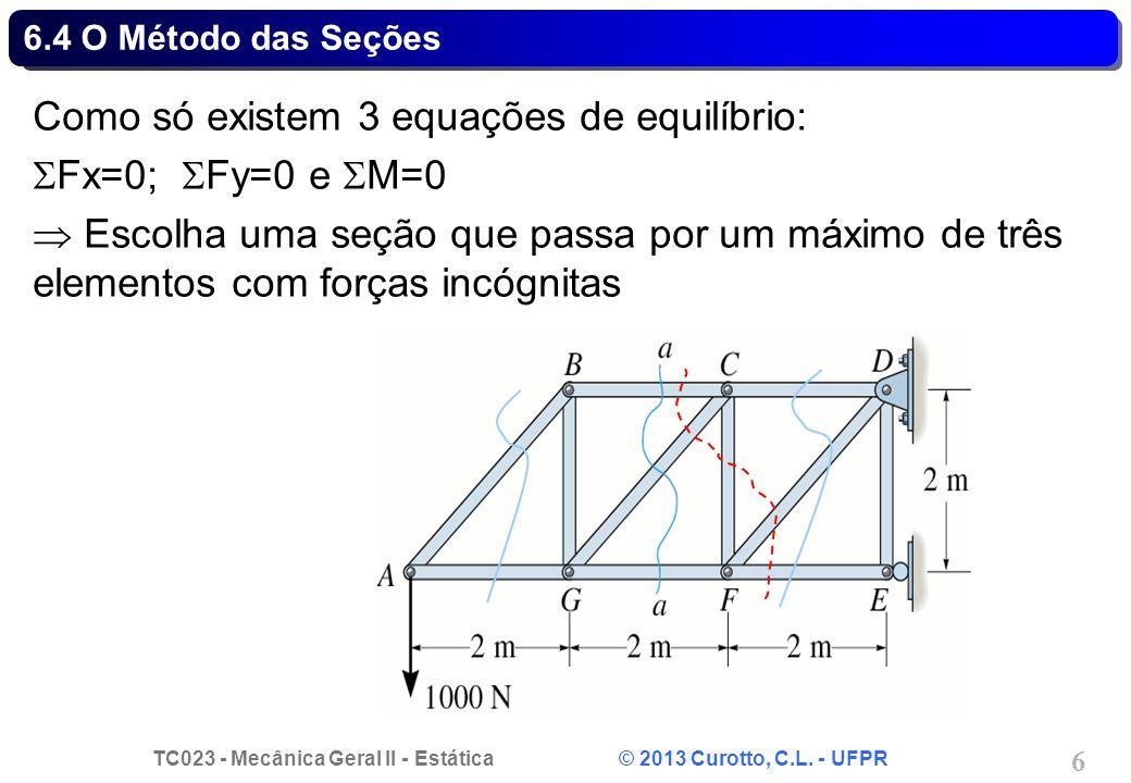 Como só existem 3 equações de equilíbrio: Fx=0; Fy=0 e M=0