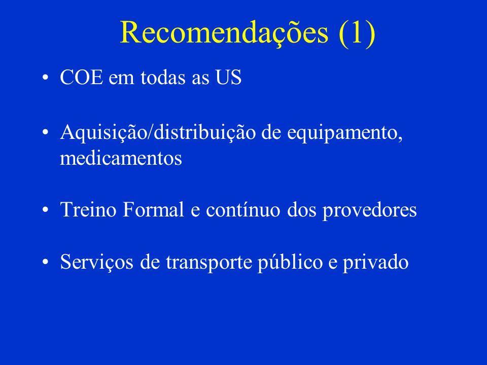 Recomendações (1) COE em todas as US