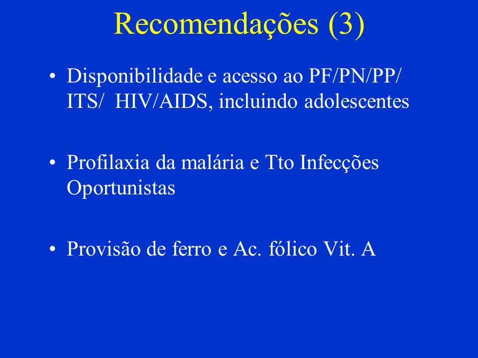 Recomendações (3) Disponibilidade e acesso ao PF/PN/PP/ ITS/ HIV/AIDS, incluindo adolescentes. Profilaxia da malária e Tto Infecções Oportunistas.