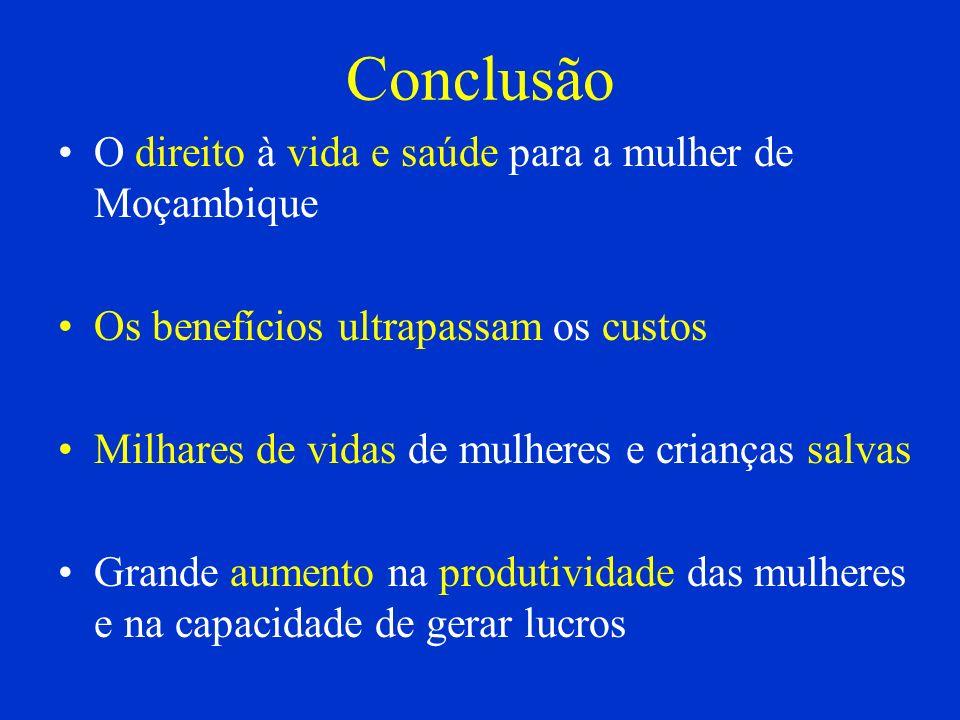 Conclusão O direito à vida e saúde para a mulher de Moçambique