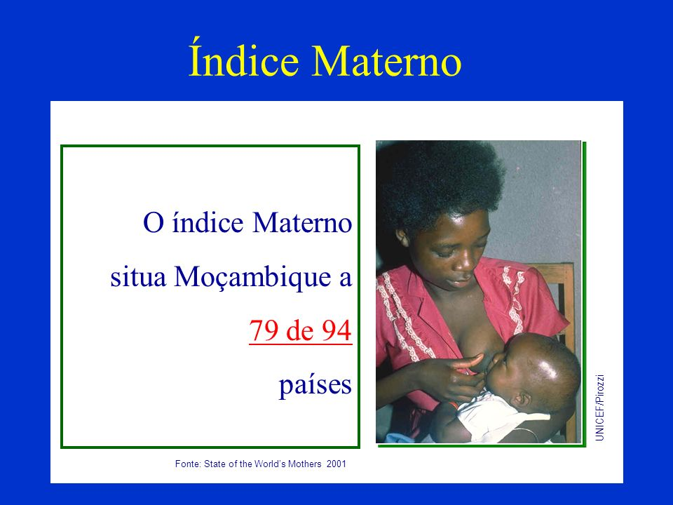 Índice Materno O índice Materno situa Moçambique a 79 de 94 países