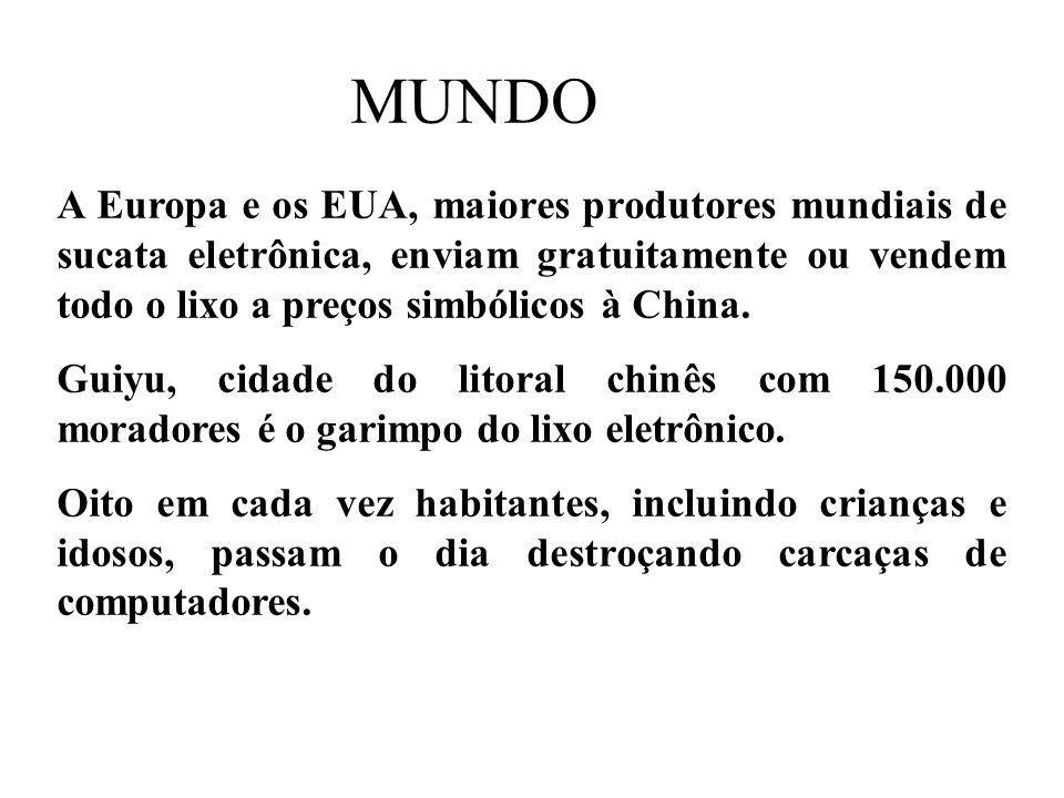 MUNDO A Europa e os EUA, maiores produtores mundiais de sucata eletrônica, enviam gratuitamente ou vendem todo o lixo a preços simbólicos à China.