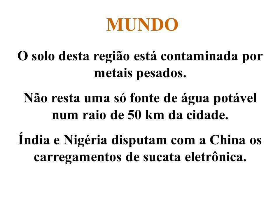 MUNDO O solo desta região está contaminada por metais pesados.