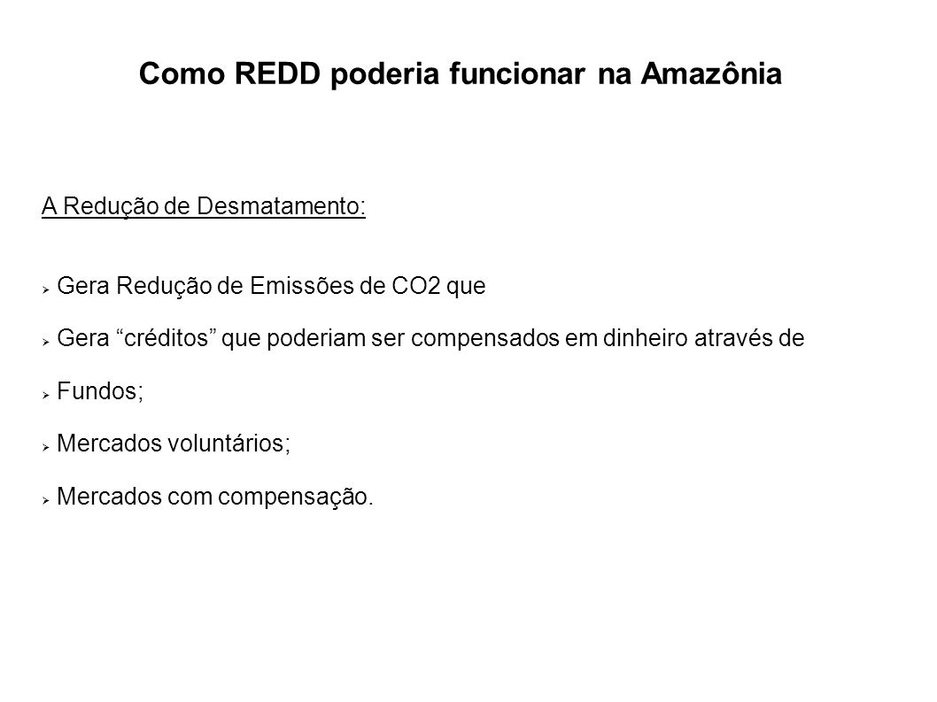 Como REDD poderia funcionar na Amazônia