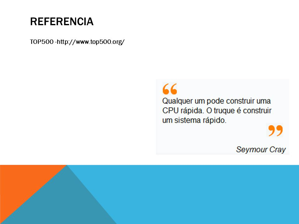 Referencia TOP500 -http://www.top500.org/