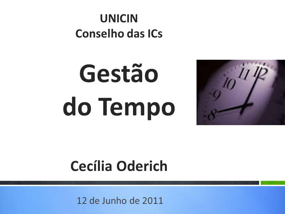 UNICIN Conselho das ICs Gestão do Tempo Cecília Oderich