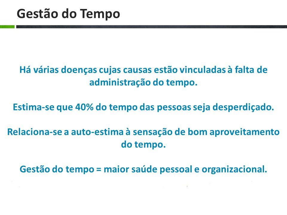 Gestão do TempoHá várias doenças cujas causas estão vinculadas à falta de administração do tempo.
