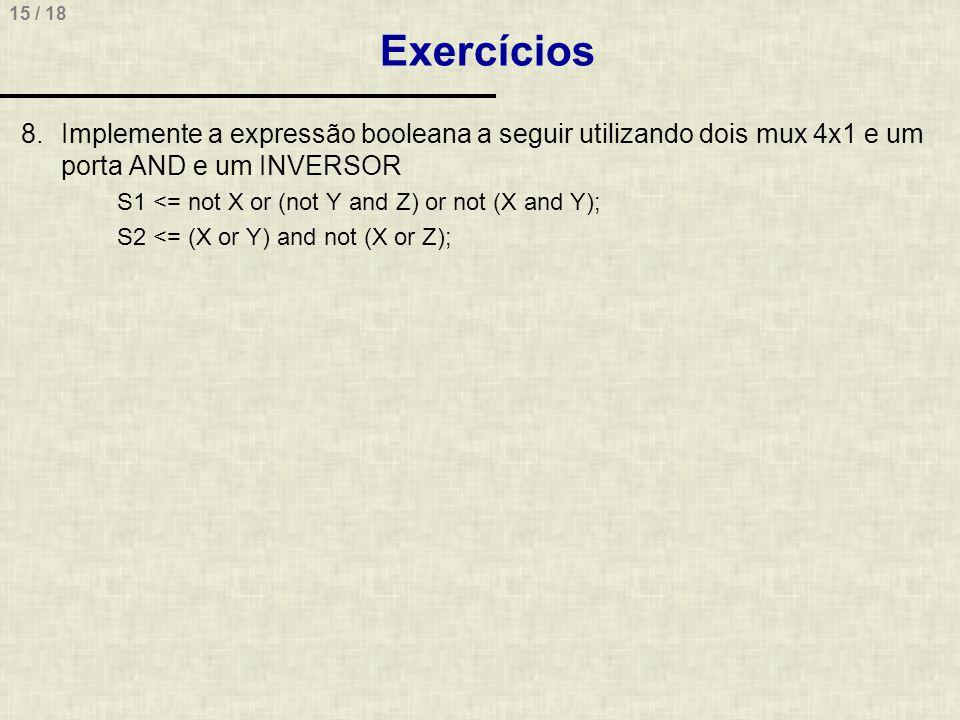 Exercícios Implemente a expressão booleana a seguir utilizando dois mux 4x1 e um porta AND e um INVERSOR.